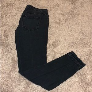 Forever 21 black acid wash distress skinny jeans